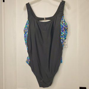 NWT, black bathing suit, 3x